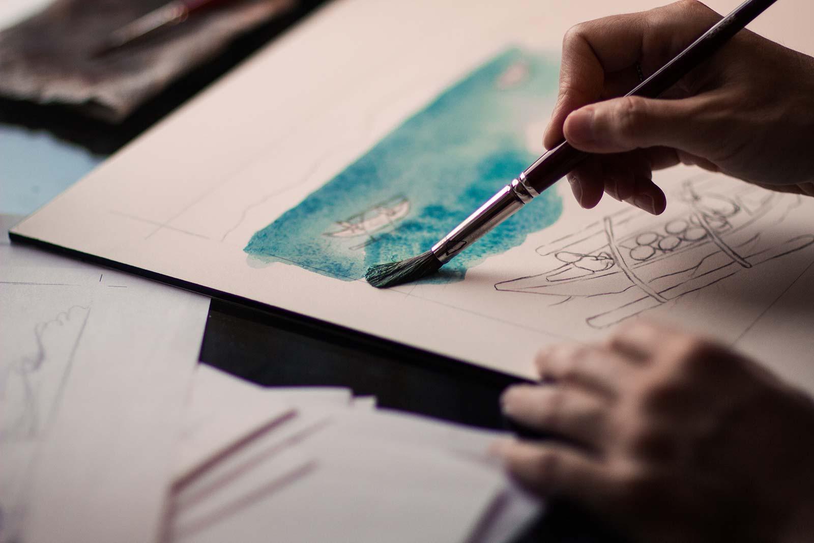 Image hand-art-water-boat-drawing